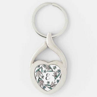 Monogramm-Lilien-Kranz Silberfarbener Herz Schlüsselanhänger