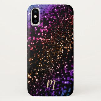 Monogramm-metallischer Regenbogen-Glitzer iPhone X Hülle