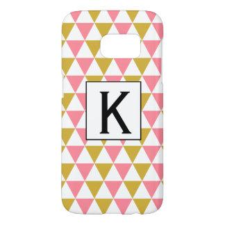 Monogramm-metallisches Gold und rosa Dreiecke