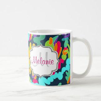 Monogramm mit Blumen Tasse