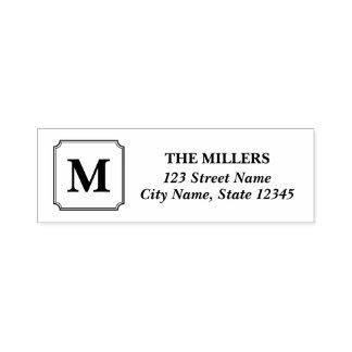 Monogramm-moderne klassische Familienname-Adresse Permastempel