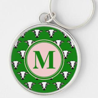 Monogramm-niedliches Kuh-Gesichts-Muster Schlüsselanhänger