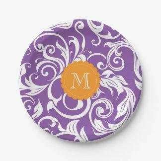 Monogramm-Party-Blumentapeten-lila Orange Pappteller