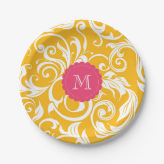 Monogramm-Party-Blumentapeten-orange Rosa Pappteller