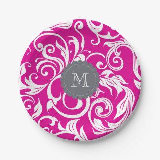 Monogramm-Party-Blumentapeten-Rosa-Grau Pappteller