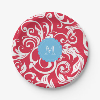 Monogramm-Party-Blumentapeten-rotes Blau Pappteller