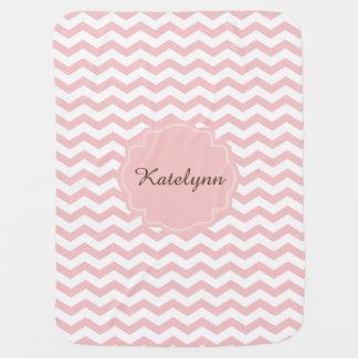 Monogramm-Pastellrosa-Zickzack-kundenspezifische Baby-Decke