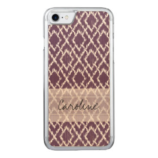 Monogramm-Pflaume lila Stammes- Ikat Carved iPhone 8/7 Hülle