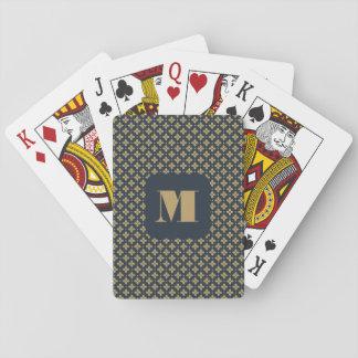 Monogramm-Reihe: Blaue Blumen und Sterne Spielkarten