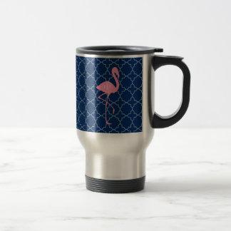 Monogramm-rosa Flamingo-Marine Quatrefoil Reisebecher