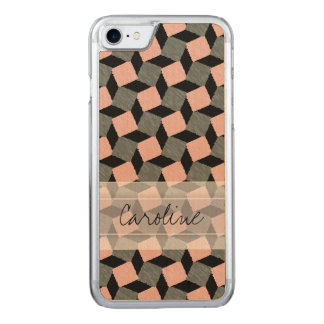 Monogramm rosa graues geometrisches Ikat Carved iPhone 8/7 Hülle