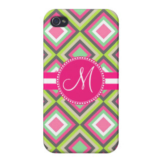 Monogramm-rosa grüne graue Diamant-quadratisches iPhone 4 Hülle