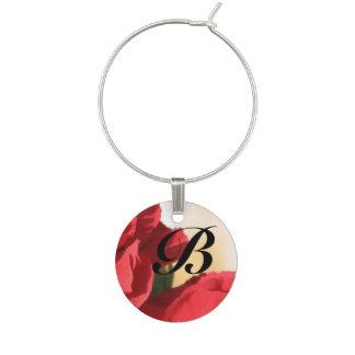 Monogramm-rotes Blumen Glasmarker