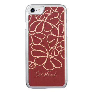 Monogramm rotes wunderliches Ikat Carved iPhone 8/7 Hülle