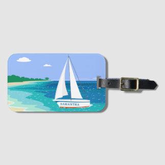 Monogramm-Segelboot-tropischer Gepäckanhänger