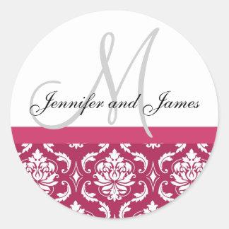 Monogramm u. Namen-Damast-Pink-Hochzeits-Aufkleber Runder Aufkleber