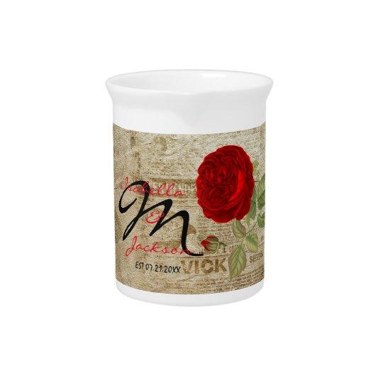 Monogramm-Vintage Rote Rose Getränke Krug