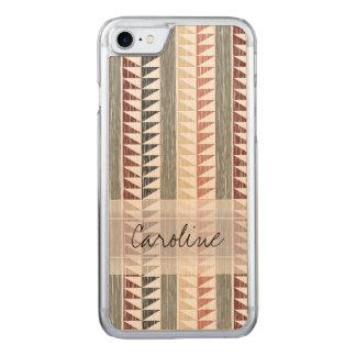 Monogramm Vintages geometrisches Ikat Stripes Carved iPhone 8/7 Hülle