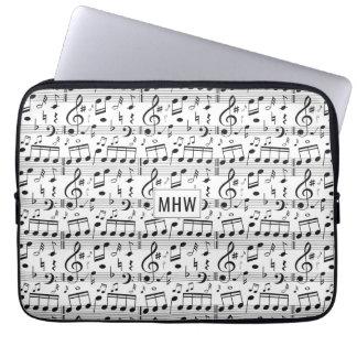 Monogrammlaptophülsen der musikalischen laptopschutzhülle