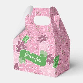 Monogrammrosa Clematis-Grün-Fahnen-Japan-Kimono Geschenkschachtel