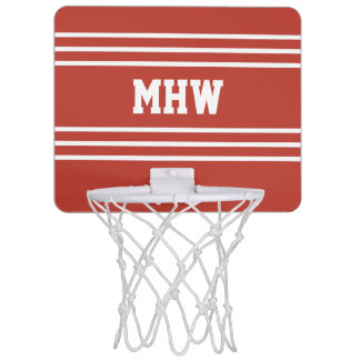 Monogramms der Tomate-Miniband des roten Streifen Mini Basketball Ring