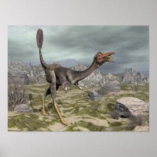 Mononykus Dinosaurier in der Wüste - 3D übertragen Poster