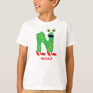 Monster beschriftet T - Shirt (Buchstaben N)