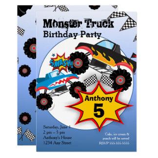 Monster-LKW scherzt Jungen-Geburtstags-Party 12,7 X 17,8 Cm Einladungskarte