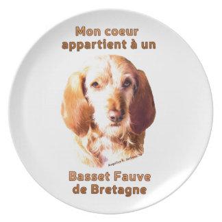 Montag Coeur Appartient eine UNO Basset Fauve de Melaminteller