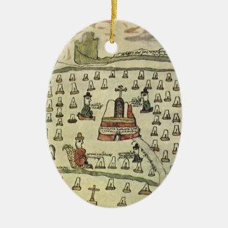 Montezumas aztekisches Reich, antike Weltkarte, Ovales Keramik Ornament