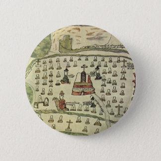 Montezumas aztekisches Reich, antike Weltkarte, Runder Button 5,1 Cm