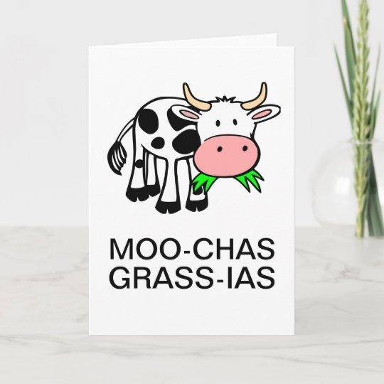 Moo Chas Gras Ias Muchas Gracias Karte Zazzle At