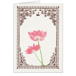.:: MoonDreams::. Vintage rosa Lotos-Brown-Grenze Karte