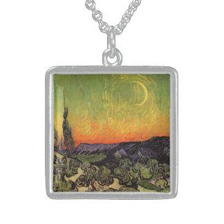 Moonlit Landschaft Vincent van Goghs Sterling Silberkette
