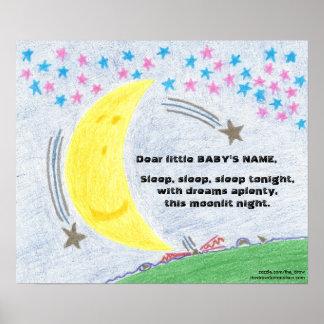 Moonlit Traum-Baby-Kinderzimmer-Plakat Poster