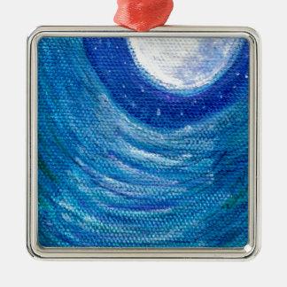 Moonlit Wellen und Wirbel Silbernes Ornament