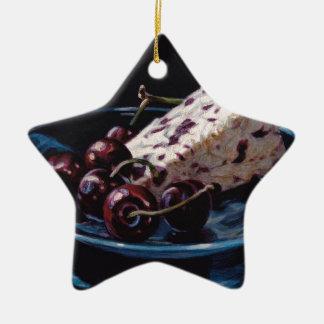 Moosbeere Stilton mit Kirschen Keramik Stern-Ornament