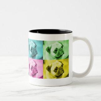 "Mops ""pop art"" zweifarbige tasse"