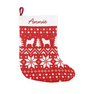 Mops-Silhouette-Muster-Rot und Weiß Kleiner Weihnachtsstrumpf
