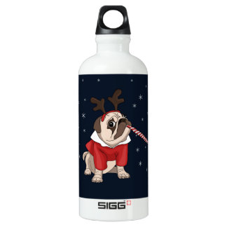 Mops-Weihnachten Aluminiumwasserflasche