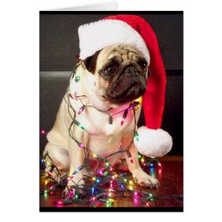 Mops-Weihnachtskarte Karte