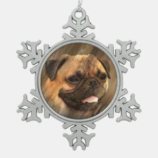 Mopsgesicht Schneeflocken Zinn-Ornament