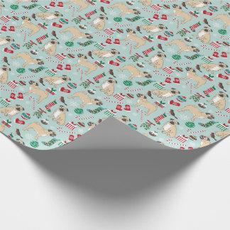 Mopsweihnachtsverpackungspapier Geschenkpapier
