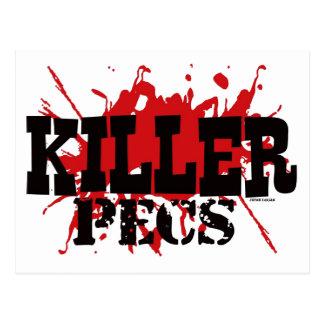 Mörder Pecs, Spaß, roter weißer schwarzer Postkarte