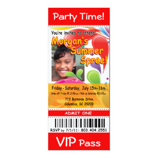 Morgans SommerSpree VIP-Karten-Foto-Party (rot) 10,2 X 23,5 Cm Einladungskarte