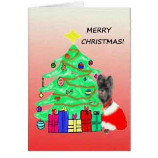 Morkie Hundeweihnachtskarte Karte