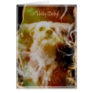 Morkie Hundewelpen-Feuer-lustige Karte