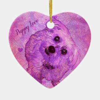 Morkie Hundewelpen-Liebe-Herzvalentine-Verzierung Keramik Ornament
