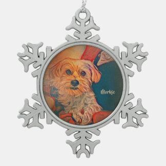 Morkie Schneeflocke-Weihnachtsverzierung Schneeflocken Zinn-Ornament