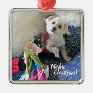 Morkie WeihnachtsStrumpf-Prämien-Verzierung Silbernes Ornament